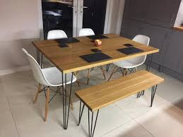 Industrial Style Solid Oak Kitchen Table Hairpin Legs Dining