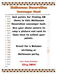Printable Halloween Scavenger Hunt Clues by Halloween Decoration Scavenger Hunt Printable Instant