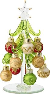 LSArts Glass Christmas Tree With Multicolored Gold Ornaments Green 6 Inch