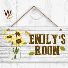 Sunflower Sign Rustic Flowers In Mason Jar Personalized Kids Name