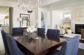 Cherry Stained Dining Table With Blue Nailhead Wingback Rh Decorpad Com Linen Chairs Becca Chair