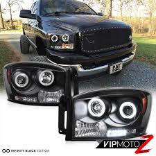 100 Dodge Ram Pickup Truck CCFL Halo Angel Eyes LED Projector Black Headlight 0608 RAM