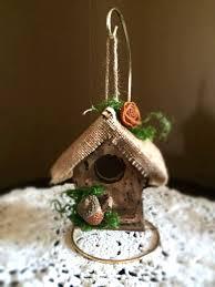 Fall Wood Bird House Hanging Woodland Birdhouse Rustic Decorated