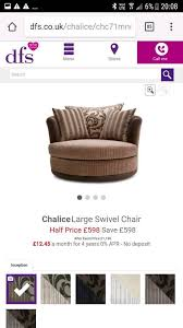 Swivel Cuddle Chairs Uk by Dfs Chalice Swivel Cuddle Chair And Half Moon Footstool In St