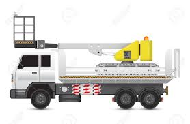 Illustration Of Boom Lift On Heavy Truck. Royalty Free Cliparts ...