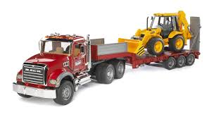 100 Bruder Trucks Toys MACK Truck With Trailer Backhoe 02813