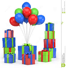 Presents and balloons