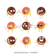 Donuts Cartoon Character modern vector template set of mascot illustrations Gift images of donuts