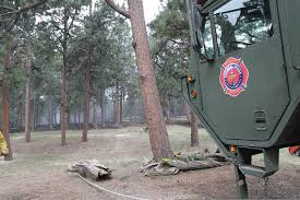 File:A Fire Truck Is Positioned Near The Black Forest Fire As U.S. ...