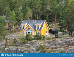 100 House In Forest Lifestyle On Islands Yellow Wooden On Rocky