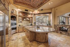Traditional Rustic Kitchen With Custom Island Santa Cecelia Granite And Tuscany Chateaux Travertine Floor Tile
