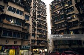 Run Down High Rise Apartment Buildings In Chongqing China