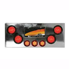 100 Semi Truck Led Lights Chrome Plated Rear Center Panel With Red LED Red Lens For