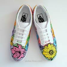 custom hand painted vans floral personalized shoes wedding