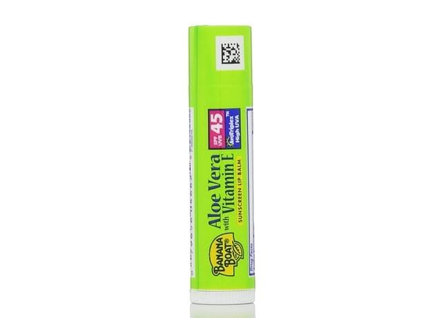 Banana Boat Sunscreen Lip Balm - Aloe Vera with Vitamin E, SPF 45, 0.15oz