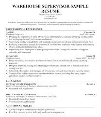Warehouse Assistant Manager Resume Sample Templates Samples Supervisor Resumes Distribution Supervi