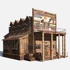 Wild West Hotel Building 3D Model