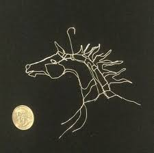 Wire Art 3in 2D Tiny Horse Head Ornament By Elizabeth Berrien Internationally Acclaimed Sculptor