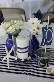 Contempo Nautical Flower Blue And White Centerpieces Including