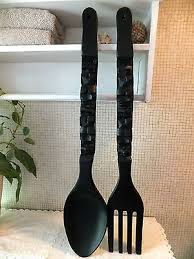 Wood Fork And Spoon Wall Hanging by Householddecorative Collection On Ebay