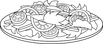 Colorable Line Art of a Salad Free Clip Art