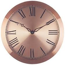 Large Wall Clock 14 Inch Rose Gold Copper Roman Numerals