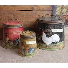 Shabby Country Chic Rooster Tin Canister Set Home Decor Kitchen