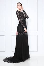 black lace and chiffon slit prom dress with long sleeves eva