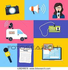 Clipart Of Journalism Press News Reporter Set Vector