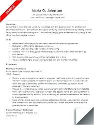 Resume Examples For Pharmacy Assistant As Well Technician Example Sample