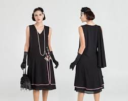 1920s Evening Dress In Black Chiffon And Floral Embroidery Great Gatsby Flapper