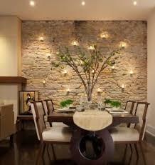 wandgestaltung mit kerzen für natursteinmauer wohnzimmer