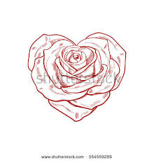 28 Collection Of Heart Shaped Rose Drawing