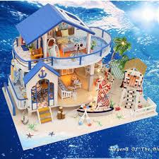 Other Doll Houses Handcraft DIY Doll House Sea Wooden Miniature