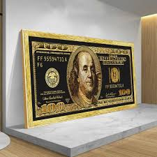 gold 100 dollar bill dekoration poster und drucke wohnzimmer moderne mode wand kunst bargeld bild auf keine rahmen leinwand malerei