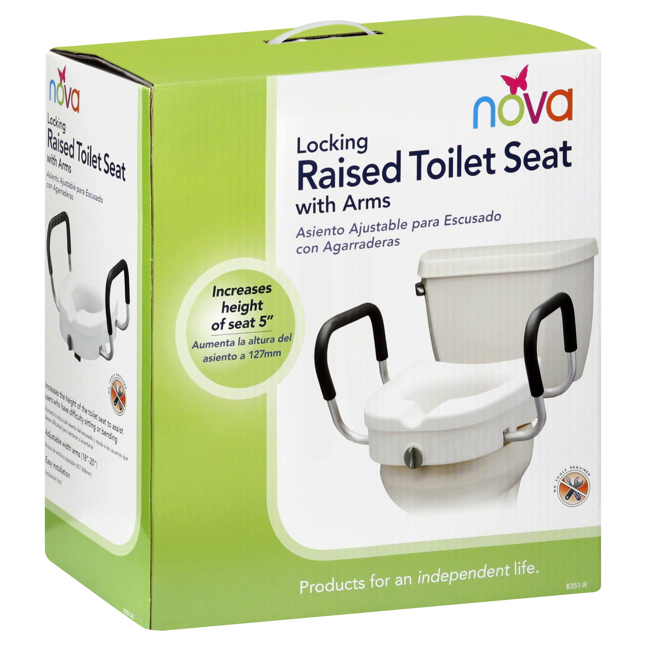 Nova Raised Toilet Seat with Arms - White, 5in