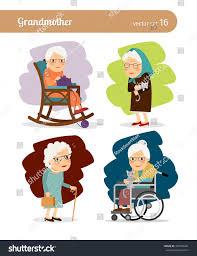 100 Rocking Chair Wheelchair Grandmother Cartoon Character Elderly Woman Stock Vector