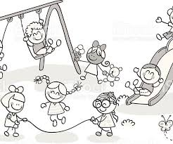 Kids Playing In The Playground Clipart Black And White Download