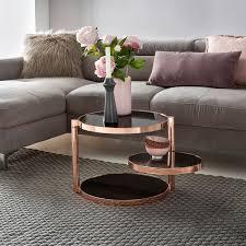design couchtisch metall glas ø 45 cm schwarz kupfer wohnzimmertisch 3 ebenen sofatisch modern glastisch beistelltisch rund