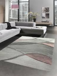 details zu teppich modern teppich wohnzimmer wellen rosa grau pastell