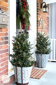 Porch Christmas Trees With Lights In Old Buckets For Rustic Front Decor