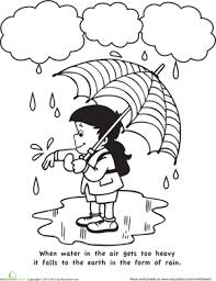 Weather Coloring Sheet Kindergarten Science Worksheet Color And Learn Rain