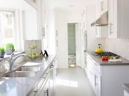 kitchen white galley kitchen design with glossy light grey quartz