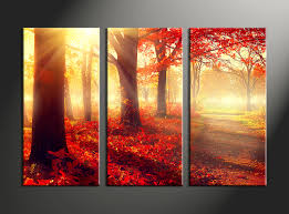 Home Decor 3 Piece Canvas Wall Art Forest Multi Panel Scenery