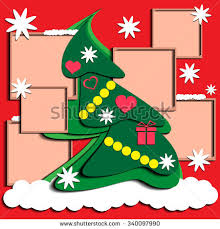 Christmas Tree Decorated With Toys Frames Shadow Vector Illustration