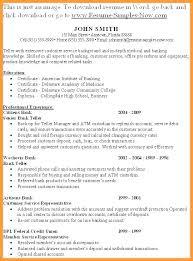 Resume For Bank Teller Examples Sample Entry Level Position