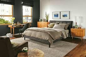 schlafzimmer deko ideen schwarz bett stuhl schreibtisch
