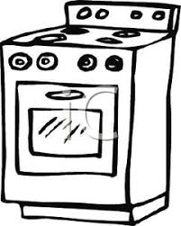 and White Oven and Stove Clipart Image
