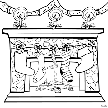 Empty Stockings By The Chimney Coloring Page