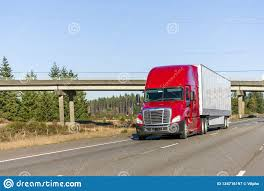 100 How Wide Is A Semi Truck Big Rig Bright Red With Dry Van Trailer Running On